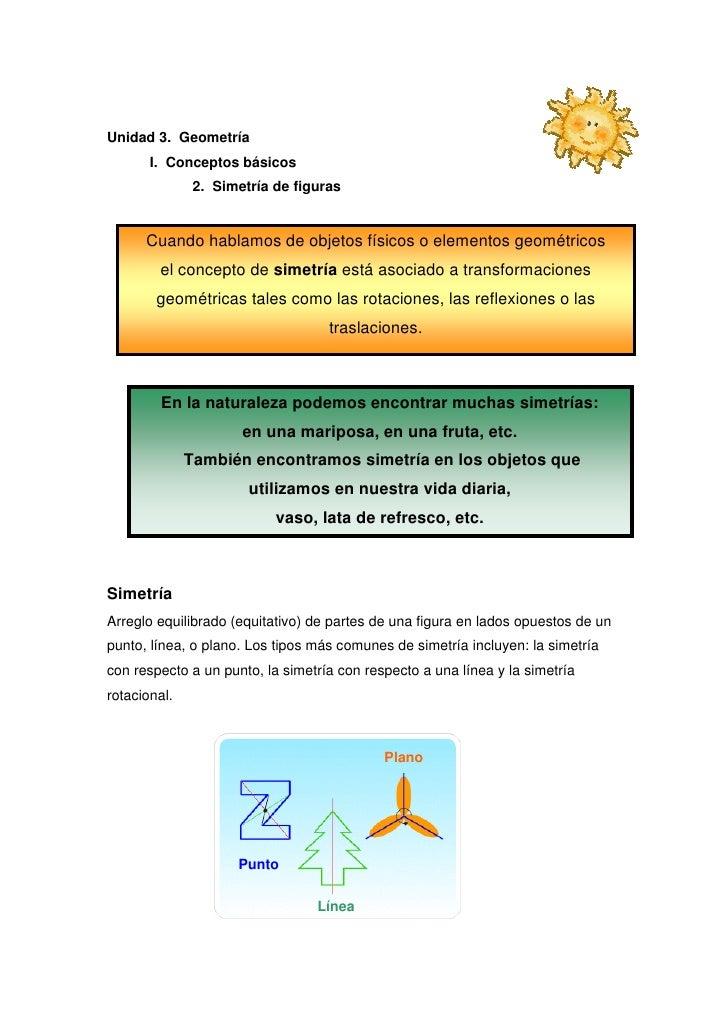 Unidad 3. Geometría       I. Conceptos básicos               2. Simetría de figuras      Cuando hablamos de objetos físico...
