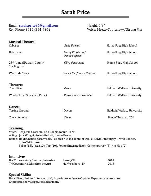 Superb Performance Resume. Sarah Price Email: Sarah.price96@gmail.com Height: 5u00273 With Performance Resume