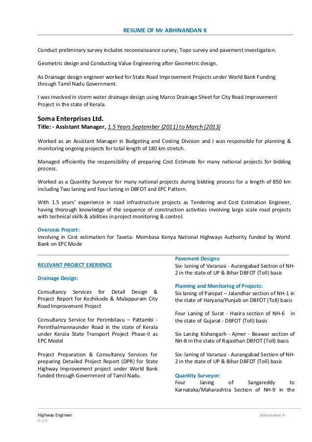 Road engineer resume