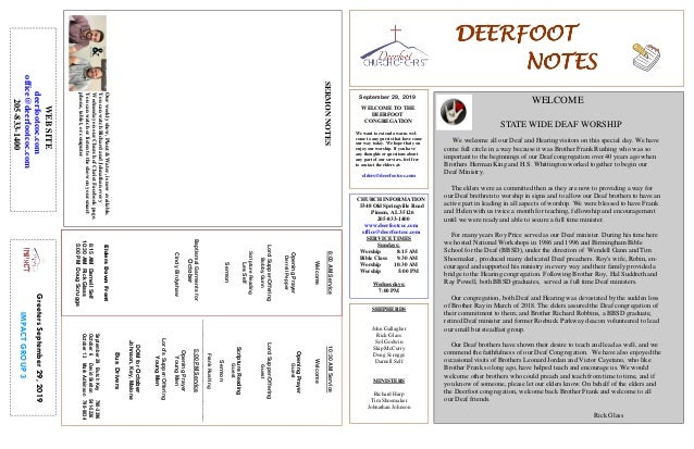 DEERFOOTDEERFOOTDEERFOOTDEERFOOT NOTESNOTESNOTESNOTES September 29, 2019 GreetersSeptember29,2019 IMPACTGROUP3 WELCOME TO ...