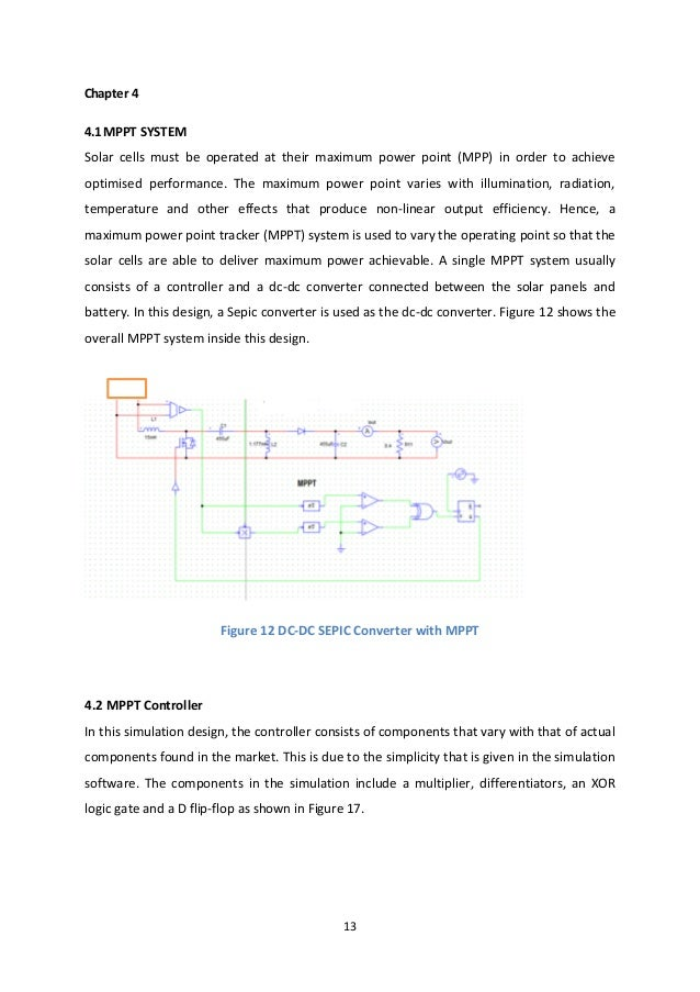 13 Chapter 4 4.1MPPT SYSTEM Solar cells must be operated at their maximum power point (MPP) in order to achieve optimised ...