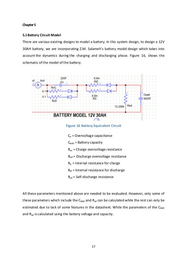 17 Chapter5 5.1Battery Circuit Model There are various existing designs to model a battery. In this system design, to desi...