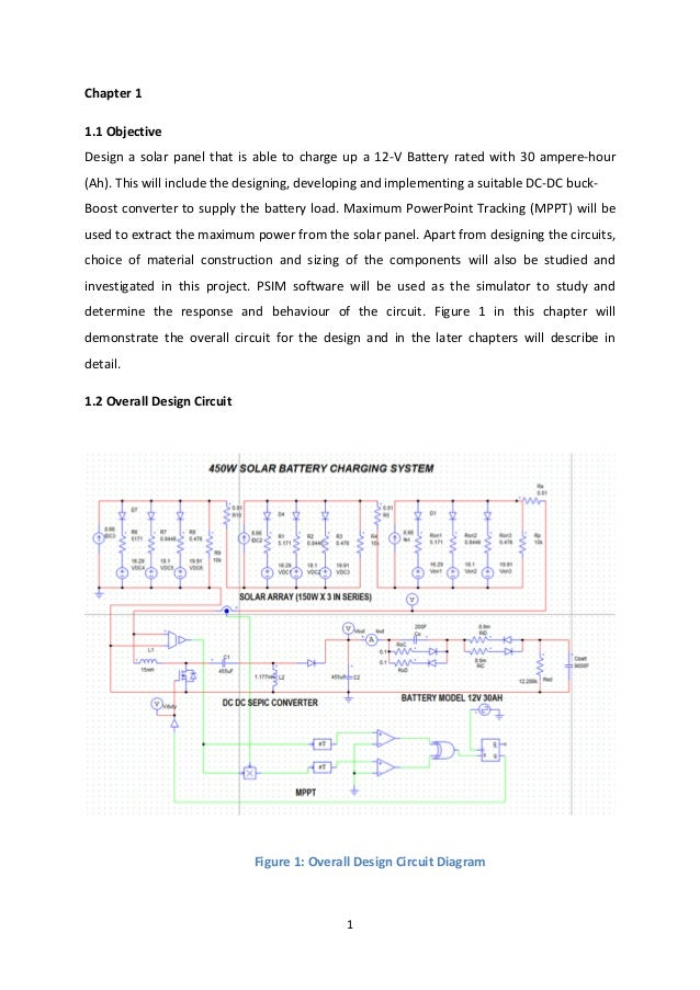 1 Chapter 1 1.1 Objective Design a solar panel that is able to charge up a 12-V Battery rated with 30 ampere-hour (Ah). Th...