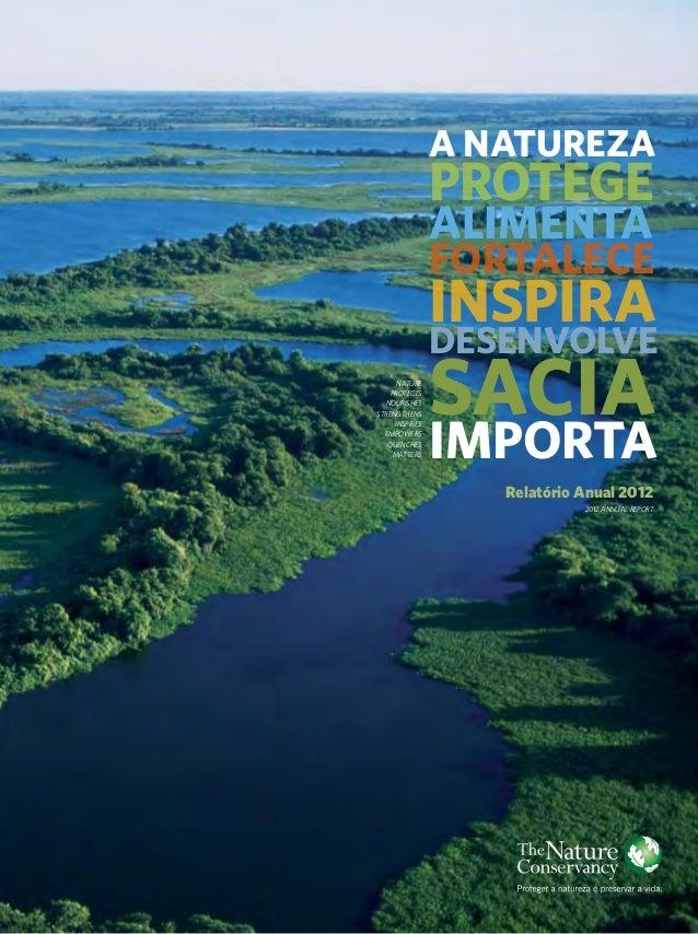 Relatório Anual 2012 2012 Annual Report A NATUREZA PROTEGE ALIMENTA FORTALECE INSPIRA DESENVOLVE SACIA IMPORTA nature Prot...