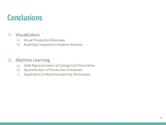 Conclusions 1) Visualization a) Visual Production Overview b) Enabling Comparison between batches 2) Machine Learning a) V...