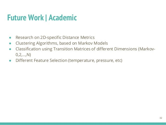 Future Work | Academic ● Research on 2D-specific Distance Metrics ● Clustering Algorithms, based on Markov Models ● Classi...