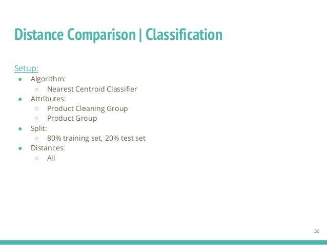 Distance Comparison | Classification 36 Setup: ● Algorithm: ○ Nearest Centroid Classifier ● Attributes: ○ Product Cleaning...