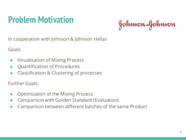 Problem Motivation In cooperation with Johnson & Johnson Hellas Goals: ● Visualisation of Mixing Process ● Quantification ...