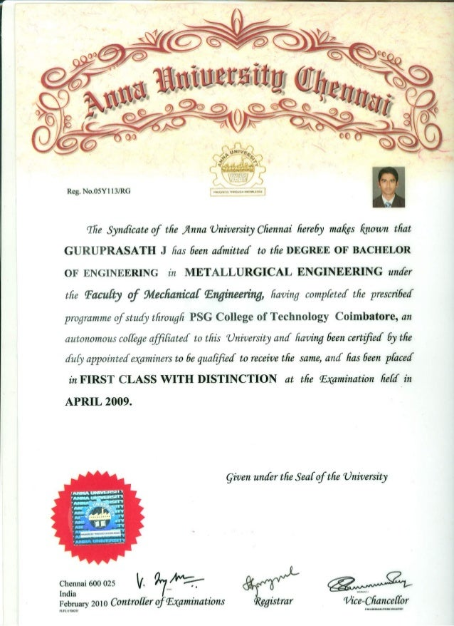 BE Degree Certificate