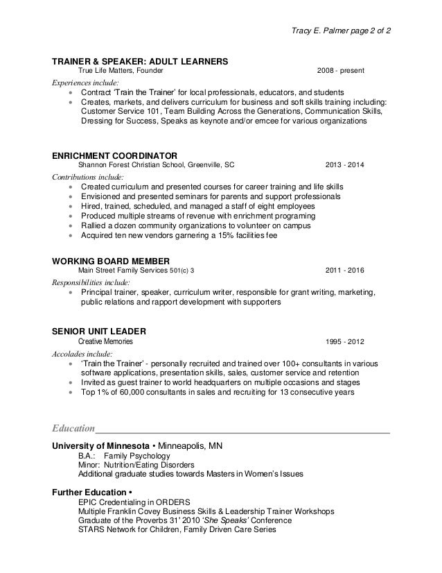 Resume Tracy Palmer Healthcare IT
