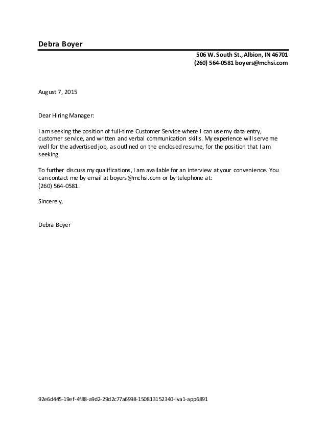 Debra Boyer Cover Letter