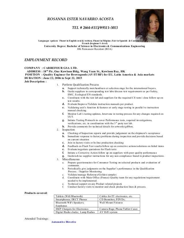 ROSANNA ESTER NAVARRO ACOSTA TEL # 2664-8113/#9511-5013 Languages spoken: Fluent in English oral & written; Fluent in Fili...