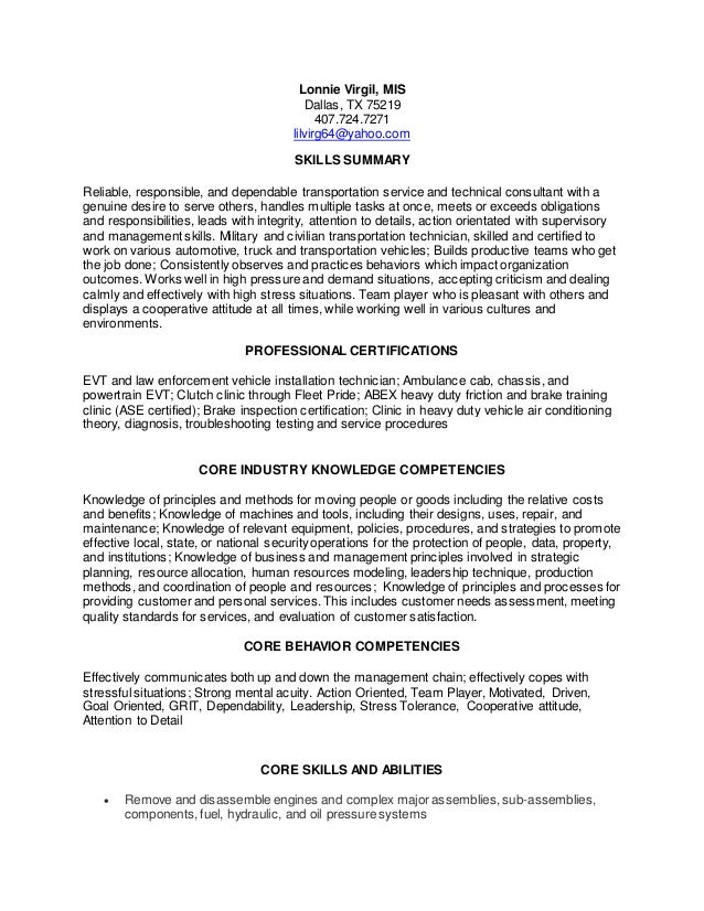 Lonnie Virgil Resume 11 Nov 2015