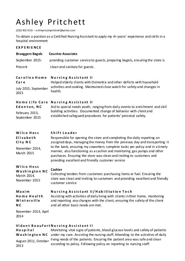 2015 Resume Nursing Assistant