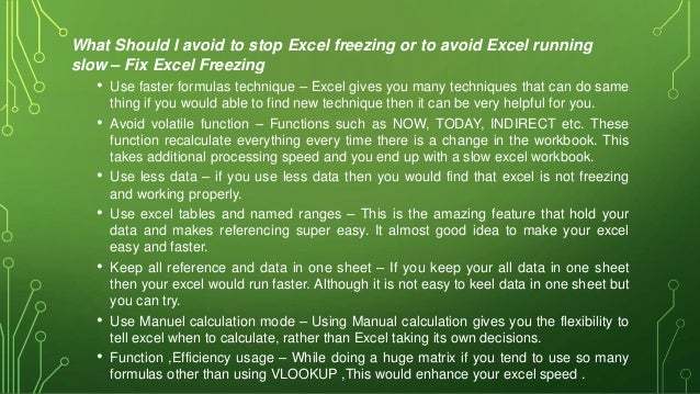 Fix Excel Freezing or Slow -Excel not responding / hang issues