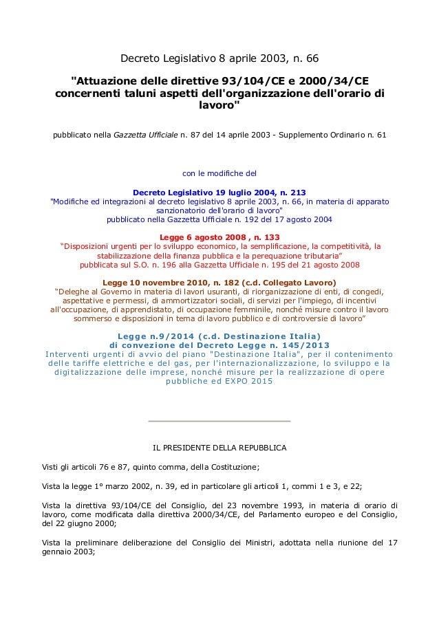 """Decreto Legislativo 8 aprile 2003, n. 66 """"Attuazione delle direttive 93/104/CE e 2000/34/CE concernenti taluni aspetti del..."""