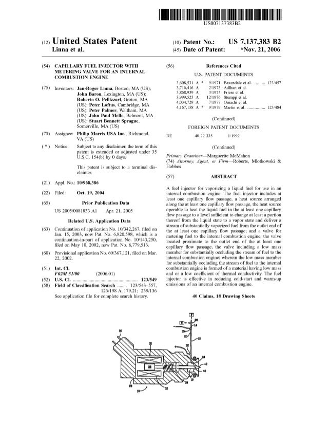 c12) United States Patent Linna et al. (54) CAPILLARY FUEL INJECTOR WITH METERING VALVE FOR AN INTERNAL COMBUSTION ENGINE ...