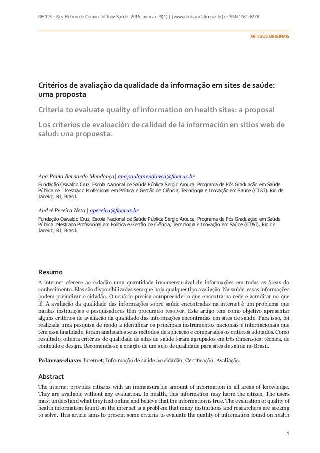 1 RECIIS – Rev Eletron de Comun Inf Inov Saúde. 2015 jan-mar; 9(1) | [www.reciis.icict.fiocruz.br] e-ISSN 1981-6278 Artigo...