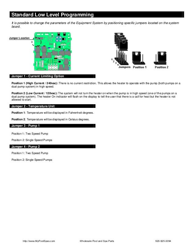 Standard Low Level Programming It is possible to change the parameters of the Equipment System by positioning specific jum...