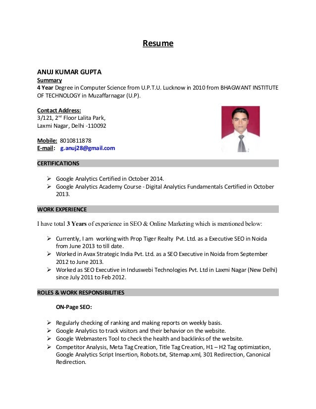 Resume - Anuj Kumar Gupta - Online Marketing