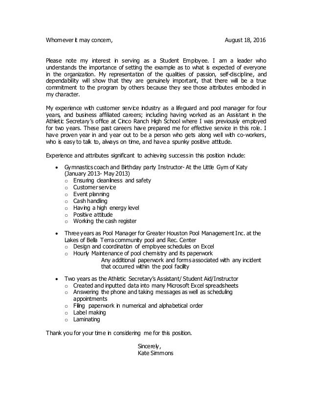 Cover Letter, Resume, and Refrences