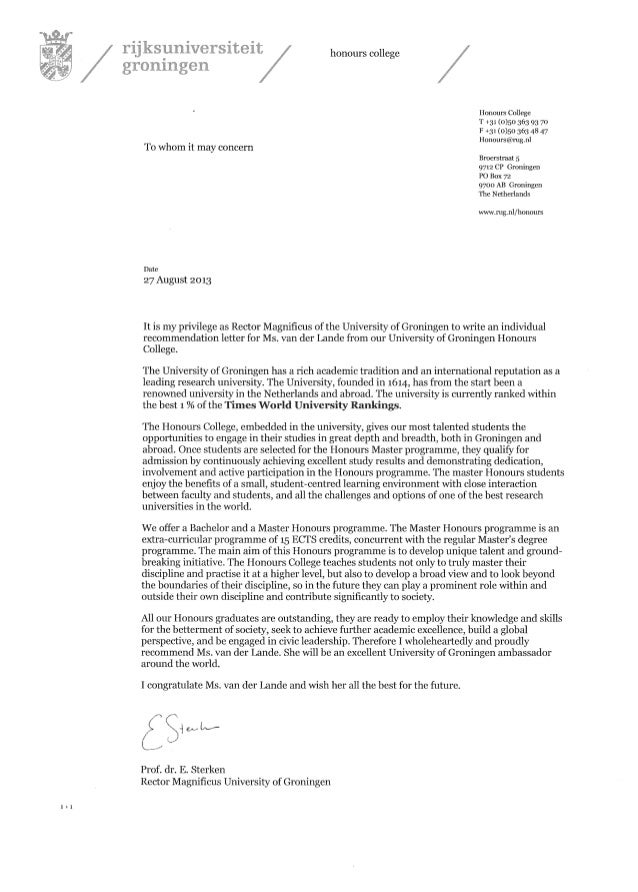 Recommendation Letter From Rector Magnificus University Of Groningen …