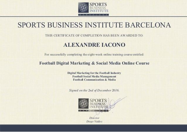 SBI - Certificate Football Digital Marketing & Social Media