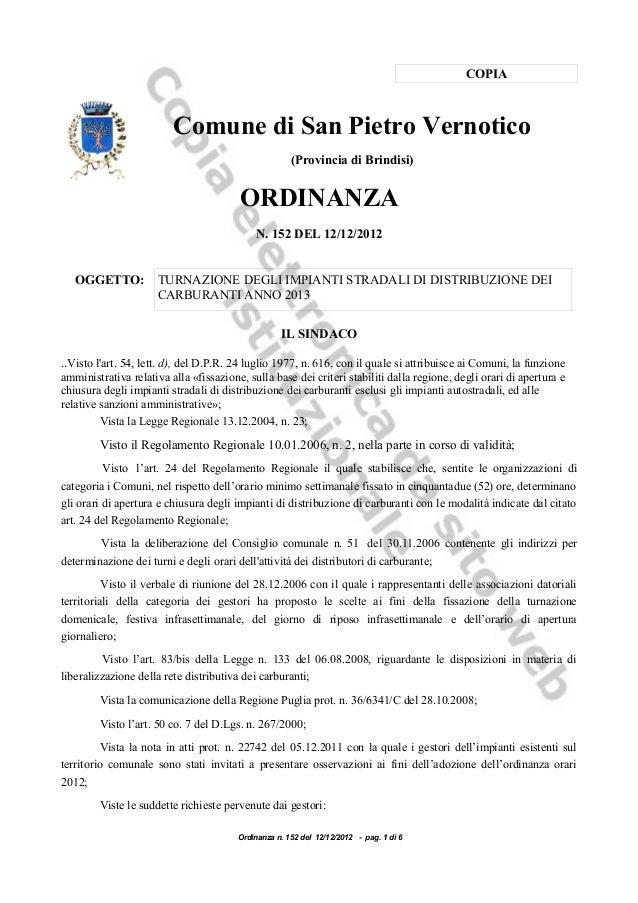COPIA                         Comune di San Pietro Vernotico                                                      (Provinc...
