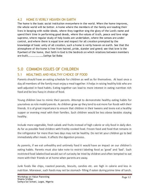 VALUE PARENTING - STUDY MATERIAL