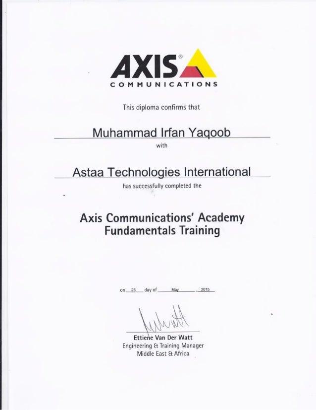 Irfan Yaqoob Axis Certificate