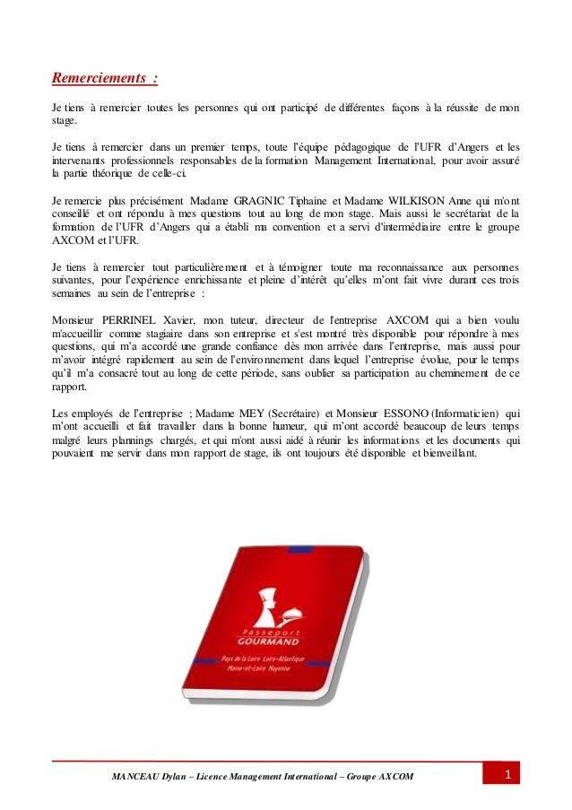 MANCEAU Dylan – Licence Management International – Groupe AXCOM 1 Remerciements : Je tiens à remercier toutes les personne...