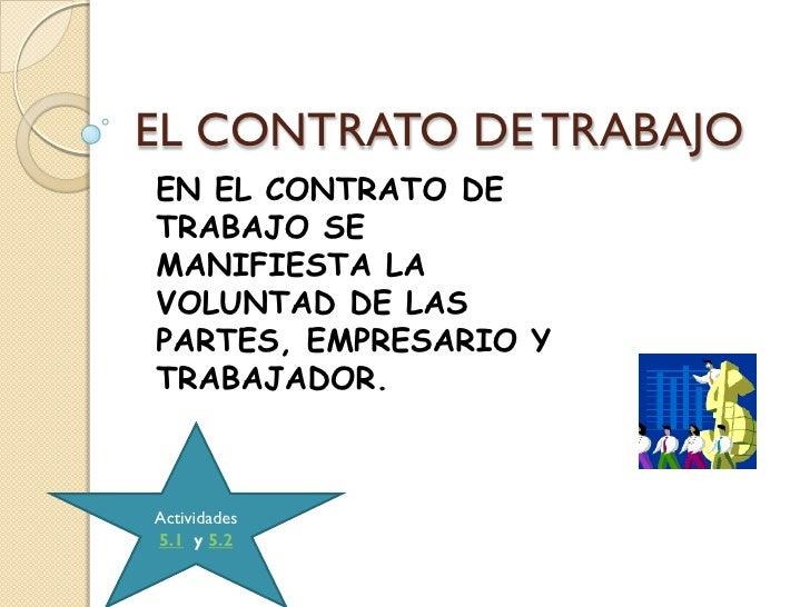 EL CONTRATO DE TRABAJOEN EL CONTRATO DETRABAJO SEMANIFIESTA LAVOLUNTAD DE LASPARTES, EMPRESARIO YTRABAJADOR.Actividades5.1...
