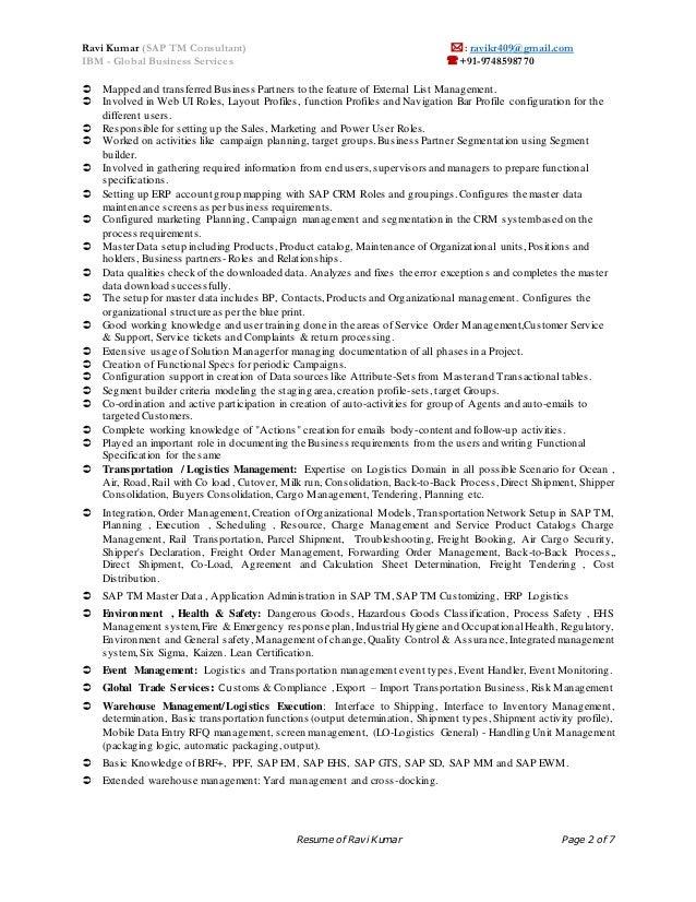 sap tm crm ehs functional consultant resume ravi kumar rh slideshare net sap pm resume sap tm logo - Sap Pm Functional Consultant Resume