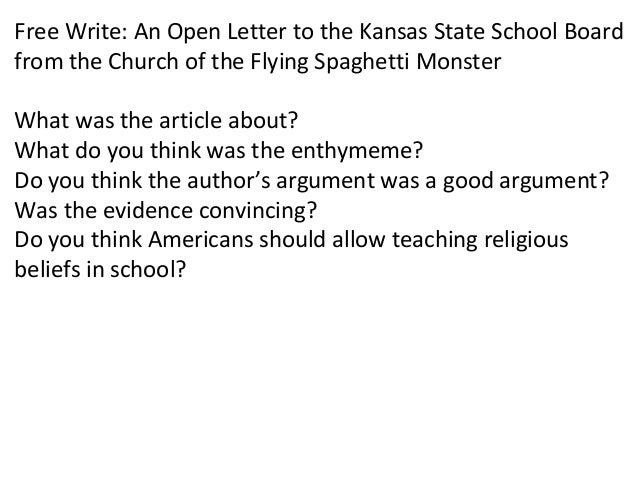 free write an open letter to the kansas state school board from the church of