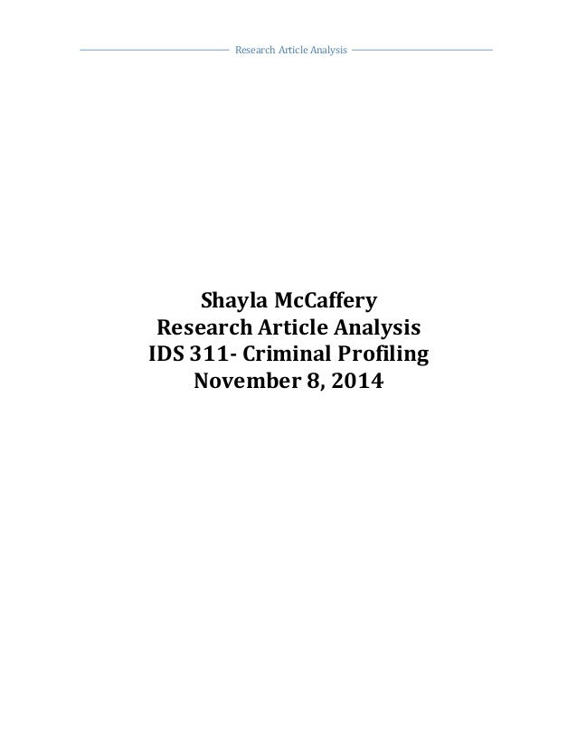 criminal profiling research artical paper research article analysis shayla mccaffery research article analysis ids 311 criminal profiling 8