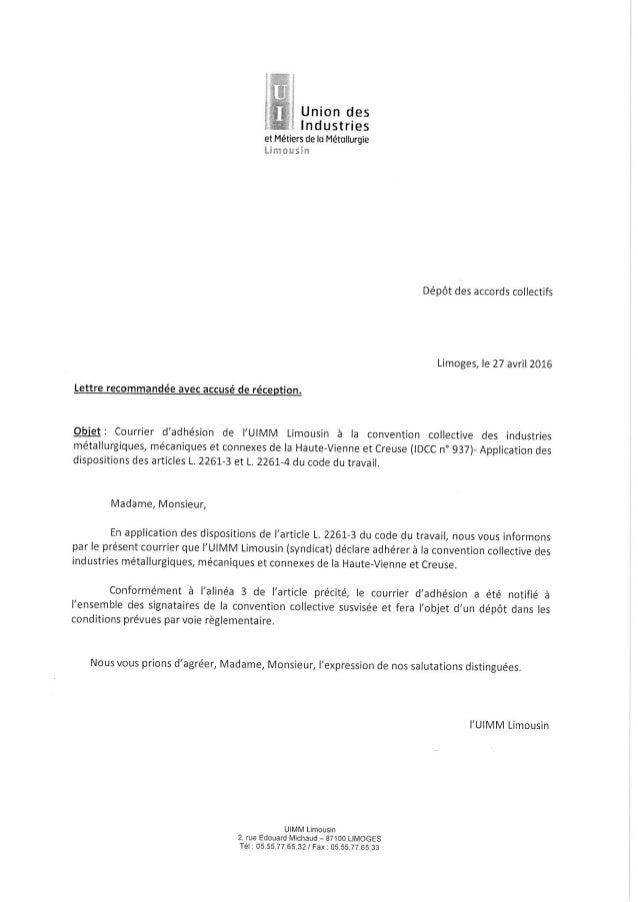 idcc 937 lettre d u0026 39 adh u00e9sion du 27 avril 2016