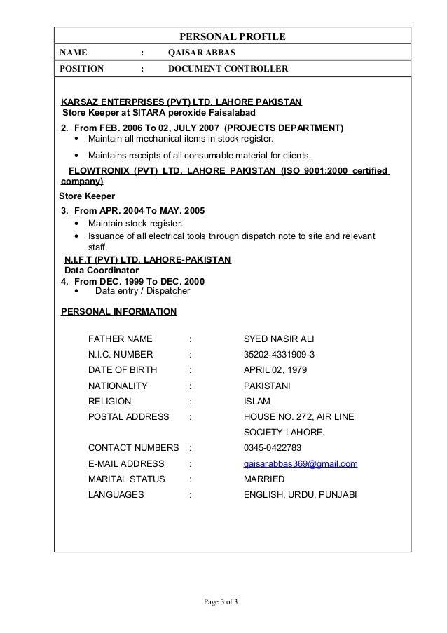 PERSONAL PROFILE NAME : QAISAR ABBAS POSITION : DOCUMENT CONTROLLER KARSAZ ENTERPRISES (PVT) LTD. LAHORE PAKISTAN Store Ke...