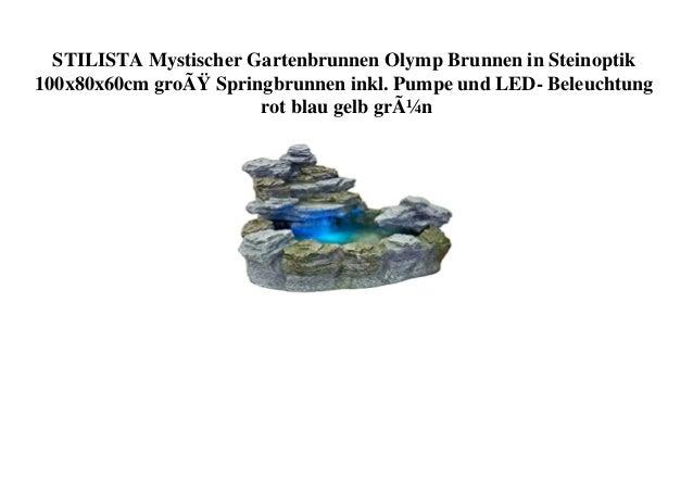 STILISTA Mystischer Gartenbrunnen Olymp Brunnen in Steinoptik 100x80x60cm groß Springbrunnen inkl. Pumpe und LED- Beleuch...