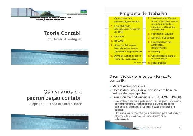 DEPARTAMENTO DE CONTABILIDADE E ATUARIAIS / FACE GRADUAÇÃO EM CIÊNCIAS CONTÁBEIS Prof. Jomar M. Rodrigues 1Prof. Jomar M. ...