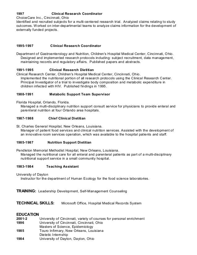 2 1997 clinical research coordinator - Clinical Research Coordinator Resume