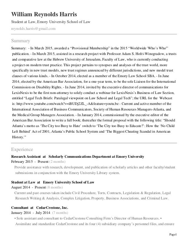 professional profile william r harris as of  page1 william reynolds harris student at law emory university school of law reynolds harris