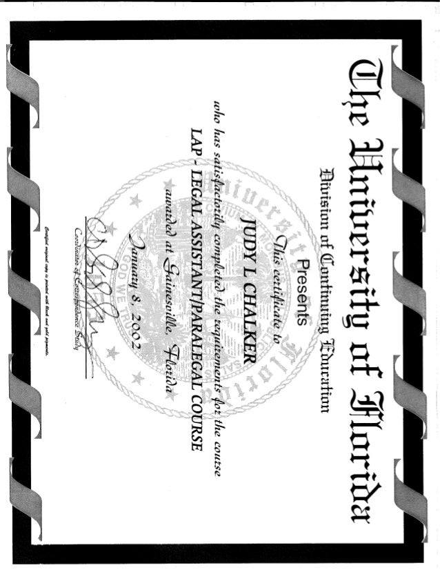 Univerisity Of Florida Certificate Of Completion Of Paralegal Studies