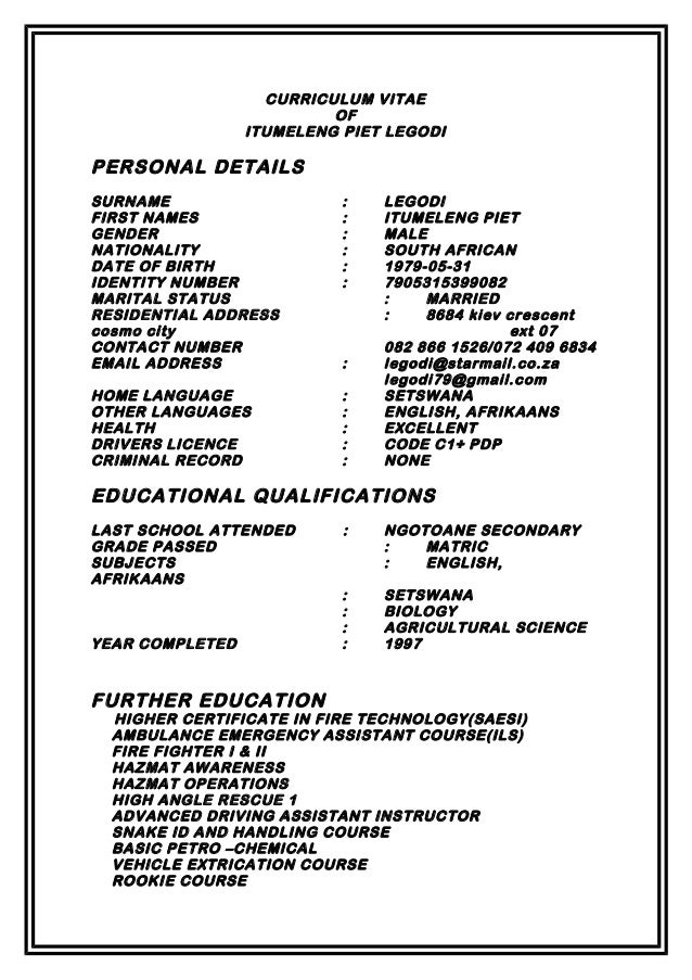 curriculum vitae written in setswana