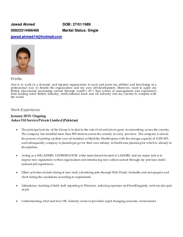Jawad Ahmed latest cv