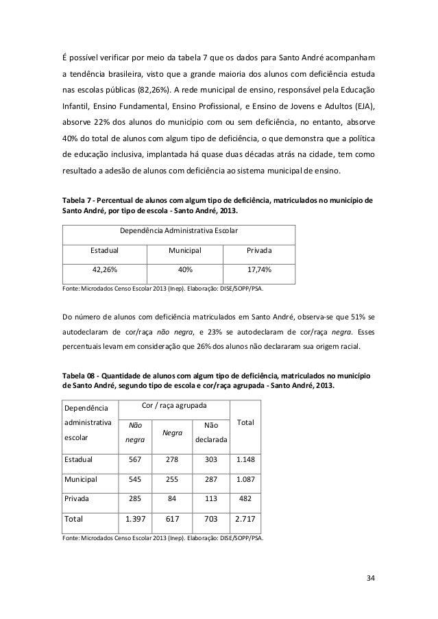 34 É possível verificar por meio da tabela 7 que os dados para Santo André acompanham a tendência brasileira, visto que a ...