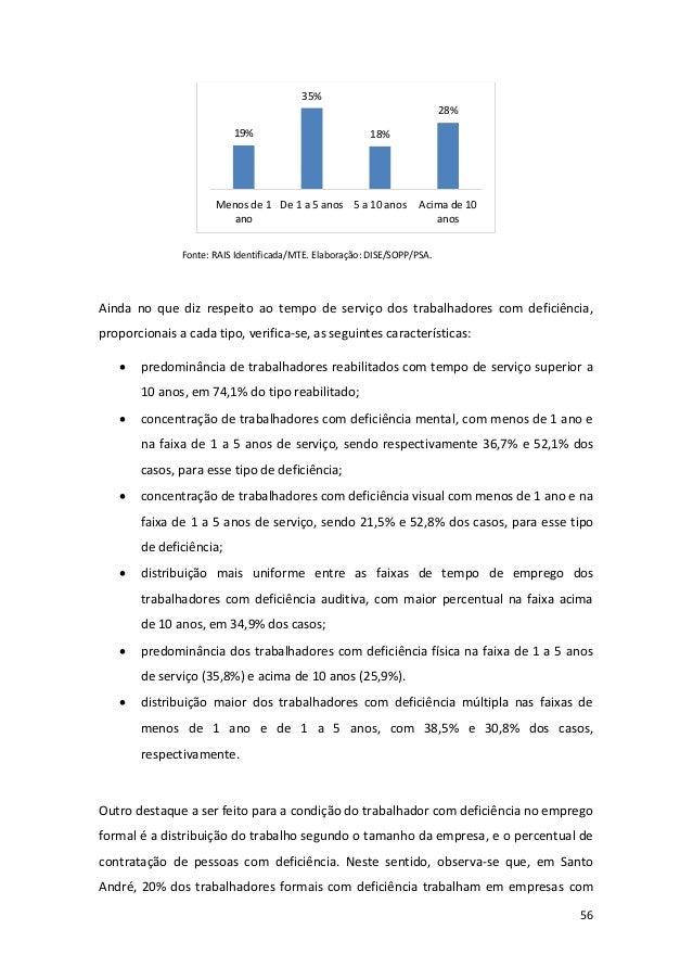 56 Fonte: RAIS Identificada/MTE. Elaboração: DISE/SOPP/PSA. Ainda no que diz respeito ao tempo de serviço dos trabalhadore...