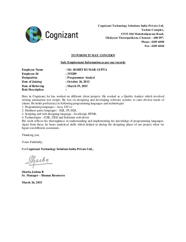 Experience letter experience letter cognizant technology solutions india private ltd techno complex 5535 old mahabalipuram road yelopaper Image collections