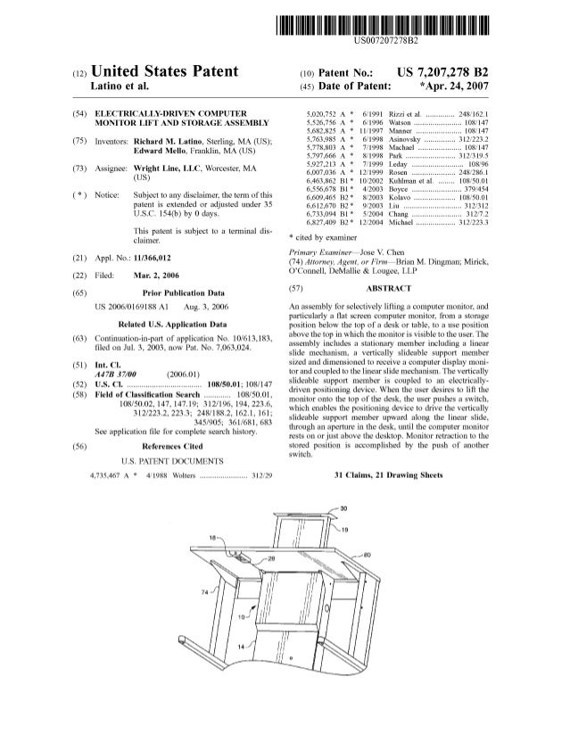c12) United States Patent Latino et al. (54) ELECTRICALLY-DRIVEN COMPUTER MONITOR LIFT AND STORAGE ASSEMBLY (75) Inventors...