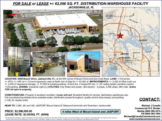 FOR SALE or LEASE +/- 62,000 SQ. FT. DISTRIBUTION-WAREHOUSE FACILITY                                                      ...