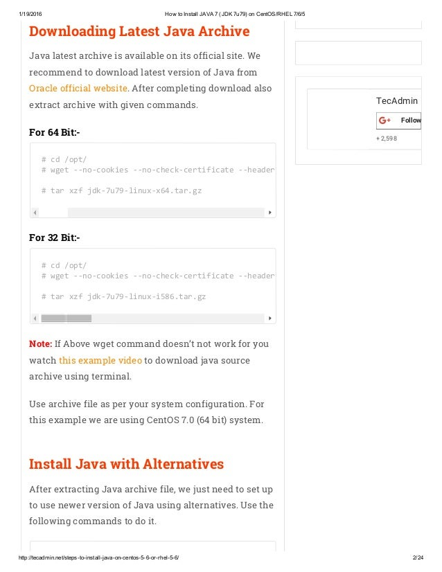 How to Install JAVA 7 (JDK 7u79) on CentOS_RHEL 7_6_5